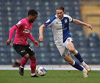 16th April 2021; Ewood Park, Blackburn, Lancashire, England; English Football League Championship Football, Blackburn Rovers versus Derby County; Sam Gallagher of Blackburn Rovers takes on Nathan Byrne of Derby County