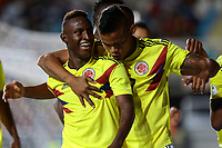 RANCAGUA - CHILE, 07-02-2019: Ivan Angulo de Colombia celebra después de anotar el segundo gol  de su equipo durante partido con Venezuela por la fecha 4 dela fase final del Sudamericano Masculino Sub 20 Chile 2019 jugado en el estadio El Teniente de Rancagua en Rancagua, Chile. / Ivan Angulo of Colombia celebrares after scoring the second goal of his team during match with Venezuela for the date 4 of final phase of South American Men U-20 Chile 2019 played at El Teniente de Rancagua stadium in Rancagua, Chile. Photo: VizzorImage / Osvaldo Villarroel / Cont / XpressMedia