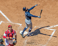 9 July 2017: Atlanta Braves outfielder Nick Markakis pops one foul against the Washington Nationals at Nationals Park in Washington, DC. The Nationals defeated the Braves to split their 4-game series. Mandatory Credit: Ed Wolfstein Photo *** RAW (NEF) Image File Available ***
