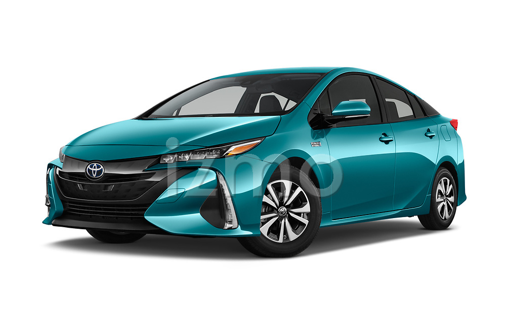 Stock pictures of low aggressive front three quarter view of 2019 Toyota Prius-Prime Plus 5 Door Hatchback Low Aggressive