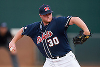 Starting pitcher Aaron Barrett #30 of the Ole Miss Rebels in action against the Virginia Cavaliers at the Charlottesville Regional of the 2010 College World Series at Davenport Field on June 5, 2010, in Charlottesville, Virginia.  The Cavaliers defeated the Rebels 13-7.  Photo by Brian Westerholt / Four Seam Images