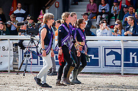 The Grooms: GOLD: Team GB (Nicola Wilson; Rosalind Canter; Kitty King). The Prizegiving. 2021 SUI-FEI European Eventing Championships - Avenches. Switzerland. Sunday 26 September 2021. Copyright Photo: Libby Law Photography