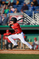 Batavia Muckdogs J.D. Orr (22) at bat during a NY-Penn League game against the Auburn Doubledays on June 14, 2019 at Dwyer Stadium in Batavia, New York.  Batavia defeated 2-0.  (Mike Janes/Four Seam Images)