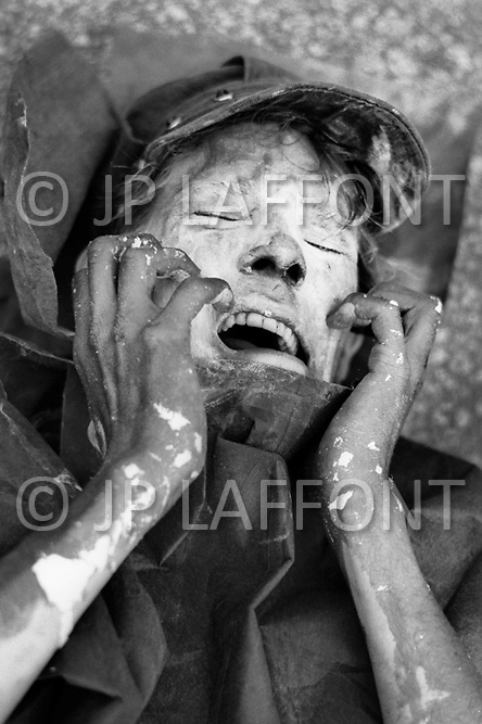 Miami, FL. August 23rd 1972.<br /> Outside of the 1972 30th Republican Convention, during President Richard Nixon's reelection campaign, demonstrators wearing costumes and makeup perform scenes of death and suffering in opposition to the Vietnam War. Several thousand Women's Lib protesters led by Jane Fonda, having just returned from her North Vietnam tour, and the Vietnam Veterans also protested. No clashes with police were reported.