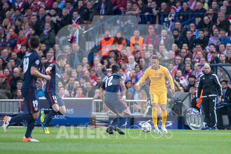 Atletico de Madrid's Gabi and Juanfran and FC Barcelona Neymar during Champions League 2015/2016 Quarter-Finals 2nd leg match. April 13, 2016. (ALTERPHOTOS/BorjaB.Hojas)