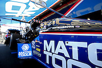 Apr. 5, 2013; Las Vegas, NV, USA: (Editors note: Special effects lens used in creation of this image) Detailed view of the canopy on the car of NHRA top fuel dragster driver Antron Brown in the pits during qualifying for the Summitracing.com Nationals at the Strip at Las Vegas Motor Speedway. Mandatory Credit: Mark J. Rebilas-
