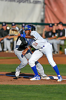 Ibandel Isabel (54) of the Ogden Raptors on defense against the Grand Junction Rockies in Pioneer League action at Lindquist Field on June 20, 2016 in Ogden, Utah. The Rockies defeated the Raptors 5-2. (Stephen Smith/Four Seam Images)