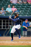 Northwest Arkansas Naturals third baseman Jack Lopez (1) at bat during a game against the Midland RockHounds on May 27, 2017 at Arvest Ballpark in Springdale, Arkansas.  NW Arkansas defeated Midland 3-2.  (Mike Janes/Four Seam Images)