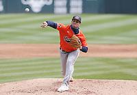 Auburn Joseph Gonzalez (45) throws a pitch, Saturday, April 3, 2021 during the third inning of a baseball game at Baum-Walker Stadium in Fayetteville. Check out nwaonline.com/210404Daily/ for today's photo gallery. <br /> (NWA Democrat-Gazette/Charlie Kaijo)
