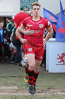 Jersey Reds players enter the field of play ahead of the Greene King IPA Championship match between London Scottish Football Club and Jersey at Richmond Athletic Ground, Richmond, United Kingdom on 18 February 2017. Photo by David Horn / PRiME Media Images.