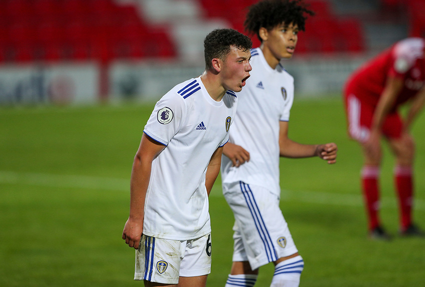 Leeds United U21's Kris Moore shouts at his teammates<br /> <br /> Photographer Alex Dodd/CameraSport<br /> <br /> EFL Trophy Northern Section Group G - Accrington Stanley v Leeds United U21 - Tuesday 8th September 2020 - Crown Ground - Accrington<br />  <br /> World Copyright © 2020 CameraSport. All rights reserved. 43 Linden Ave. Countesthorpe. Leicester. England. LE8 5PG - Tel: +44 (0) 116 277 4147 - admin@camerasport.com - www.camerasport.com