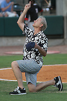 Actor and Charleston Riverdogs part owner Bill Murray being recognized by the crowd for being elected to the South Atlantic League Hall of Fame at the South Atlantic League All-Star game held at the Joseph P. Riley Jr.Ballpark in Charleston, South Carolina on June 19th, 2012. The Northern division defeated the Southern division by the score of 3-2. (Robert Gurganus/Four Seam Images)