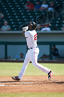 Mesa Solar Sox first baseman Josh Ockimey (28), of the Boston Red Sox organization, follows through on his swing during an Arizona Fall League game against the Peoria Javelinas at Sloan Park on October 24, 2018 in Mesa, Arizona. Mesa defeated Peoria 4-3. (Zachary Lucy/Four Seam Images)