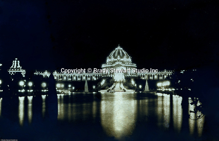 St Louis MO:  A view of the Festival Hall lit up at night.  George Westinghouse and other electric suppliers help light the fair.  Electricity was used throughout the fair, from the Ferris Wheel to the DeForest Wireless Telegraph Tower along with many of the rides at the fair.