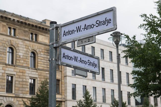 """Unbekannte haben in der Nacht zum 17. Juli 2020 einige Strassenschilder der Mohrenstrasse im Berliner Bezirk Mitte mit Schildern """"Anton-W.-Amo-Strasse"""" ueberklebt (im Bild) und den Schriftzug """"Mohrenstrasse"""" des U-Bahnhof Mohrenstrasse und weitere Strassenschilder mit Farbe uebersprueht. Zudem wurde der Schriftzug """"Decolonize the city"""" gesprueht.<br /> 17.7.2020, Berlin<br /> Copyright: Christian-Ditsch.de<br /> NUR FUER REDAKTIONELLE ZWECKE! Werbung nur auf Anfrage beim Fotografen. [Inhaltsveraendernde Manipulation des Fotos nur nach ausdruecklicher Genehmigung des Fotografen. Vereinbarungen ueber Abtretung von Persoenlichkeitsrechten/Model Release der abgebildeten Person/Personen liegen nicht vor. NO MODEL RELEASE! Don't publish without copyright Christian-Ditsch.de, Veroeffentlichung nur mit Fotografennennung, sowie gegen Honorar, MwSt. und Beleg. Konto: I N G - D i B a, IBAN DE58500105175400192269, BIC INGDDEFFXXX, Kontakt: post@christian-ditsch.de<br /> Bei der Bearbeitung der Dateiinformationen darf die Urheberkennzeichnung in den EXIF- und  IPTC-Daten nicht entfernt werden, diese sind in digitalen Medien nach §95c UrhG rechtlich geschuetzt. Der Urhebervermerk wird gemaess §13 UrhG verlangt.]"""