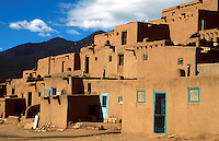 Exterior view of a traditional Native American pueblo. Taos, New Mexico.