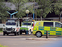 Pictured: Mountain Rescue staff at Ystradgynlais Hospital, Powys, Wales UK. Wednesday 29 June 2016<br />Re: Rescuers have found a number of the 24 children who went missing the Brecon Beacons.<br />Dyfed-Powys Police said a Coastguard helicopter had found some the children, who are from St Albans, Hertfordshire.<br />The helicopter has landed and the crew are with the children, but their condition is not known.<br />The alarm was raised at about 13:00 BST after the groups went missing around Llyn y Fan Fach, near Abercraf.<br />The children are in their mid teens and were on the beacons as part of their Duke of Edinburgh Award.<br />Mark Moran from Central Beacons Mountain Rescue said his team had been in intermittent phone contact with the four groups of six children before the first group were found.