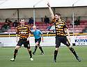 Alloa's Ben Gordon celebrates after he scores their first goal.