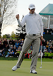 5 October 2008: Dustin Johnson celebrates his birdie putt on the 18th hole at the Turning Stone Golf Championship in Verona, New York. Johnson made the putt for the win and his first PGA Tour victory.