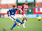 Hamilton Accies v St Johnstone…01.09.18…   New Douglas Park     SPFL<br />Matty Kennedy's shot goes over the bar<br />Picture by Graeme Hart. <br />Copyright Perthshire Picture Agency<br />Tel: 01738 623350  Mobile: 07990 594431