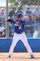 Alex Jackson (10) of Rancho Bernardo High School bats against Westview High School at Rancho Bernardo High School on May 21, 2014 in San Diego, California.  (Larry Goren/Four Seam Images)