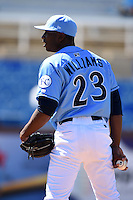 Wilmington Blue Rocks pitcher Ali Williams (23) looks in for the sign during a game against the Myrtle Beach Pelicans on April 27, 2014 at Frawley Stadium in Wilmington, Delaware.  Myrtle Beach defeated Wilmington 5-2.  (Mike Janes/Four Seam Images)