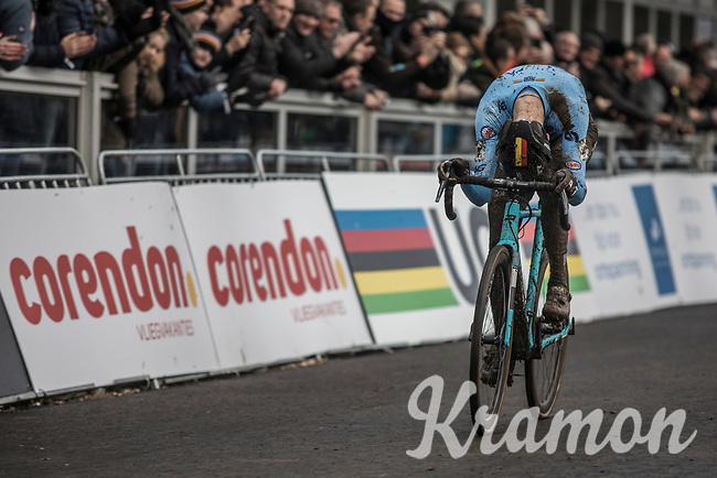 after an exciting last round Michael Vanthourenhout (BEL/Marlux Bingoal)  is releaved to have the finish line in sight.  <br /> <br /> Men Elite Race<br /> UCI CX Worlds 2018<br /> Valkenburg - The Netherlands