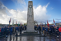 Pictured: Young cadets during the service. Sunday 11 November 2018<br /> Re: Commemoration for the 100 years since the end of the First World War on Remembrance Day at the Swansea Cenotaph in south Wales, UK.