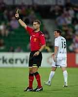 27th March 2021; HBF Park, Perth, Western Australia, Australia; A League Football, Perth Glory versus Newcastle Jets; Referee Daniel Elder gives the Perth Glory bench a yellow card for constant harrassment