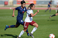 20190301 - LARNACA , CYPRUS : Mexican Karla Nieto pictured in the sprint against Thai Chuchuen Sudarat (left) during a women's soccer game between Thailand and Mexico , on Friday 1 March 2019 at the GSZ Stadium in Larnaca , Cyprus . This is the second game in group B for both teams during the Cyprus Womens Cup 2019 , a prestigious women soccer tournament as a preparation on the FIFA Women's World Cup 2019 in France . PHOTO SPORTPIX.BE | DAVID CATRY
