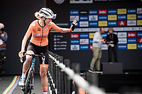 Team The Netherlands is presented to the crowd at the race start in Antwerpen with Ellen van Dijk (NED/Trek-Segafredo) waving to friends in the crowd<br /> <br /> Women Elite - Road Race (WC)<br /> from Antwerp to Leuven (158km)<br /> <br /> UCI Road World Championships - Flanders Belgium 2021<br /> <br /> ©kramon