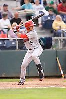 Spokane Indians third baseman Ryan Rua #16 at bat during a game against the Everett AquaSox at Everett Memorial Stadium on June 20, 2012 in Everett, WA.  Everett defeated Spokane 9-8 in 13 innings.  (Ronnie Allen/Four Seam Images)