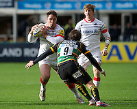 20121027 Copyright onEdition 2012©.Free for editorial use image, please credit: onEdition..Brad Barritt of Saracens is tackled by Lee Dickson of Northampton Saints as David Strettle of Saracens looks on (right) during the Aviva Premiership match between Northampton Saints and Saracens at Franklin's Gardens on Saturday 27th October 2012 (Photo by Rob Munro)..For press contacts contact: Sam Feasey at brandRapport on M: +44 (0)7717 757114 E: SFeasey@brand-rapport.com..If you require a higher resolution image or you have any other onEdition photographic enquiries, please contact onEdition on 0845 900 2 900 or email info@onEdition.com.This image is copyright the onEdition 2012©..This image has been supplied by onEdition and must be credited onEdition. The author is asserting his full Moral rights in relation to the publication of this image. Rights for onward transmission of any image or file is not granted or implied. Changing or deleting Copyright information is illegal as specified in the Copyright, Design and Patents Act 1988. If you are in any way unsure of your right to publish this image please contact onEdition on 0845 900 2 900 or email info@onEdition.com