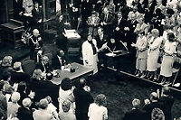 1987 FILE PHOTO - ARCHIVES -<br /> <br /> Health Minister Elinor Caplan, centre, receives a standing ovation in the Legislature yesterday as she is sworn in, while Premier David Peterson and Lieutenant-Governor Lincoln Alexander, seated, watched the ceremonies. Peterson named a 29-member cabinet, including 10 rookies and six women. <br /> <br /> 1987<br /> <br /> PHOTO :  Erin Comb - Toronto Star Archives - AQP