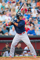 Oklahoma City RedHawks designated hitter Carlos Perez (20) at bat against the Nashville Sounds at Greer Stadium on July 25, 2014 in Nashville, Tennessee.  The Sounds defeated the RedHawks 2-0.  (Brian Westerholt/Four Seam Images)