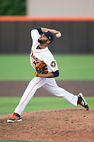 Buies Creek Astros relief pitcher Hector Perez (45) in action against the Wilmington Blue Rocks at Jim Perry Stadium on April 29, 2017 in Buies Creek, North Carolina.  The Astros defeated the Blue Rocks 3-0.  (Brian Westerholt/Four Seam Images)