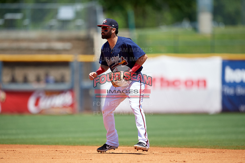 Mississippi Braves second baseman Alejandro Salazar (48) during a Southern League game against the Jacksonville Jumbo Shrimp on May 5, 2019 at Trustmark Park in Pearl, Mississippi.  Mississippi defeated Jacksonville 1-0 in ten innings.  (Mike Janes/Four Seam Images)
