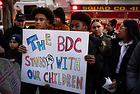 NEW YORK, NY - DECEMBER 11:Kids residents in Courtlandt Avenue are demanding safe streets in response to the escalating violence between gangs, wounded five people, including a 10 and 14-year-old. In this area nearly 4,000 students  attend school, daycare, and after-school programs in the 3-block radius of where this violence occurred on  December 11,2019 in Melrose Bronx New York City.<br /> (Photo by Joana Toro/VIEWPress/Corbis via Getty Images)