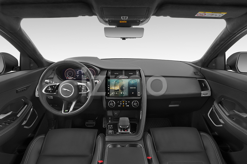 Stock photo of straight dashboard view of 2021 Jaguar E-Pace R-Dynamic-HSE 5 Door SUV Dashboard