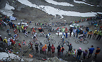 grupetto up the dirt roads of the Colle delle Finestre (2178m)<br /> <br /> Giro d'Italia 2015<br /> stage 20: Saint Vincent - Sestriere (199km)
