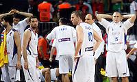 Serbian player after lost game, the semi-final World championship basketball match against Turkey in Istanbul, Serbia-Turkey, Turkey on Saturday, Sep. 11, 2010. (Novak Djurovic/Starsportphoto.com) .