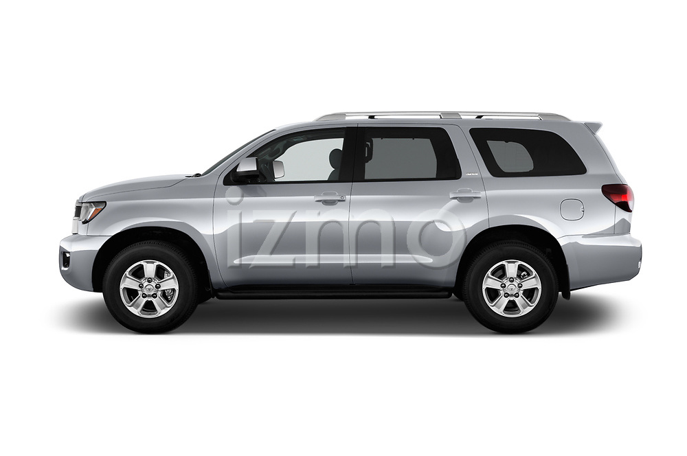 Car driver side profile view of a 2018 Toyota Sequoia SR5 Auto 5 Door SUV
