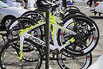 The Farnese Vini-Selle Italia team Cipollini bikes lined up before the start of the 2nd Stage of the 2012 Tour of Qatar an 11.3km team time trial at Lusail Circuit, Doha, Qatar. 6th February 2012.<br /> (Photo Eoin Clarke/Newsfile)