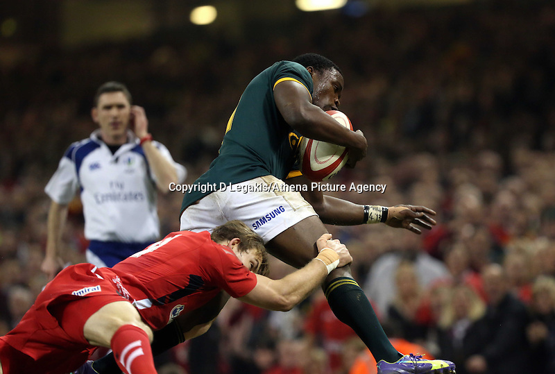 Pictured L-R: Liam Williams of Wales is tackling Teboho Mohoje of South Africa Saturday 29 November 2014<br /> Re: Dove Men Series 2014 rugby, Wales v South Africa at the Millennium Stadium, Cardiff, south Wales, UK.