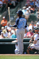 Tampa Bay Rays second baseman Tim Beckham (1) during a Spring Training game against the Baltimore Orioles on March 14, 2015 at Ed Smith Stadium in Sarasota, Florida.  Tampa Bay defeated Baltimore 3-2.  (Mike Janes/Four Seam Images)