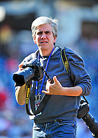 22 April 2010: Washington Nationals' team photographer Mitchell Layton at work prior to a game against the Colorado Rockies at Nationals Park in Washington, DC. The Nationals were shut out by the Rockies 2-0 closing out their series with a 2-2 game split. Mandatory Credit: Ed Wolfstein Photo
