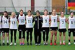 FRANKFURT AM MAIN, GERMANY - April 14: (L-R) Lisa Neubert #14 of Germany, Katharina Schroer #13 of Germany, Eva Schulte #12 of Germany, Julia Duerr #11 of Germany, Nora Schroeder #10 of Germany, Kristina Schaefer #9 of Germany, Inga Hupka #8 of Germany, Pia Balz #7 of Germany and Mareile Kriwall #6 of Germany during the national anthem before the Deutschland Lacrosse International Tournament match between Germany vs Great Britain during the on April 14, 2013 in Frankfurt am Main, Germany. Great Britain won, 10-9. (Photo by Dirk Markgraf)