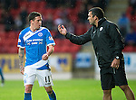 St Johnstone v Hearts…10.08.16..  McDiarmid Park…BetFred Cup<br />Callum Davidson gives instructions to Danny Swanson<br />Picture by Graeme Hart.<br />Copyright Perthshire Picture Agency<br />Tel: 01738 623350  Mobile: 07990 594431