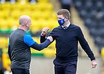16.08.2020 Livingston v Rangers: Livingston assistant manager David Martindale with Rangers manager Steven Gerrard