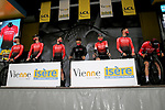 Team Arkea-Samsic at sign on before Stage 5 of Paris-Nice 2021, running 200km from Vienne to Bollene, France. 11th March 2021.<br /> Picture: ASO/Fabien Boukla   Cyclefile<br /> <br /> All photos usage must carry mandatory copyright credit (© Cyclefile   ASO/Fabien Boukla)
